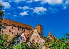Castello della Germania, vista del Kaiserburg medievale, punto di riferimento famoso di Norimberga fotografia stock libera da diritti
