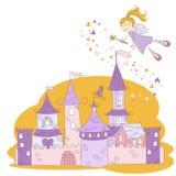 Castello della principessa e fairy magici di volo Fotografie Stock Libere da Diritti