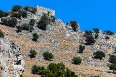 Castello della Rocca在Cefalu,西西里岛,意大利 免版税库存照片