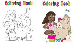 Castello della sabbia del libro da colorare Fotografia Stock