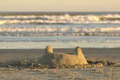 Castello della sabbia del litorale del golfo del Texas Fotografie Stock Libere da Diritti