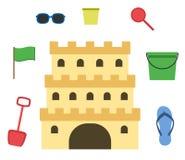 Castello della sabbia isolato nello stile piano Castello di sabbia del fumetto Immagine Stock Libera da Diritti