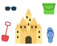 Castello della sabbia isolato nello stile piano Castello di sabbia del fumetto Immagine Stock