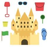 Castello della sabbia isolato nello stile piano Castello di sabbia del fumetto Fotografia Stock