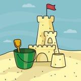 Castello della sabbia Spiaggia del mare royalty illustrazione gratis