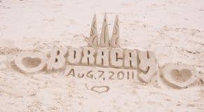 Castello della sabbia sulla spiaggia di sabbia bianca tropicale Immagini Stock Libere da Diritti