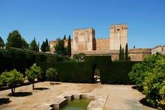 Castello di Alhambra Palace e giardino, Granada Immagine Stock