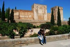 Castello di Alhambra Palace, Granada Fotografie Stock Libere da Diritti