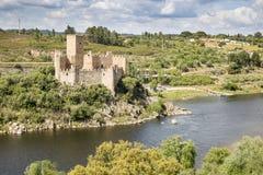 Castello di Almourol in mezzo al Tago, Vila Nova da Barquinha, distretto di Santarem, Portogallo Fotografia Stock Libera da Diritti