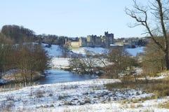 Castello di Alnwick in inverno Immagini Stock Libere da Diritti