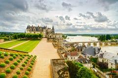 Castello di Amboise, ponte del fiume. Loire Valley, Francia Fotografia Stock