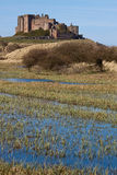 Castello di Bamburgh dalle dune di sabbia Immagine Stock Libera da Diritti