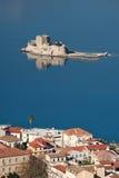 Castello di Bourtzi in Nafplio da sopra, la Grecia Fotografia Stock