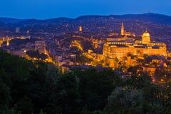Castello di Buda in ore blu Fotografia Stock Libera da Diritti