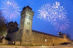 Castello di Cardiff alla notte Fotografia Stock Libera da Diritti
