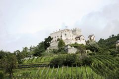 Castello di Castelbello或Schloss Kastelbell在意大利的Val Venosta 库存照片
