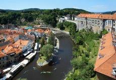 Castello di Cesky Krumlov, vecchio fiume di Vltava e della città Immagine Stock Libera da Diritti