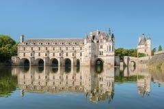 Castello di Chenonceau, costruito sopra il fiume di Cher, Loire Valley, Francia immagine stock