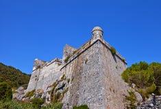 Castello di Doria (1161) in Portovenere (Unesco cita), Italia Fotografia Stock