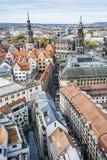 Castello di Dresda e cattedrale di Dresda da Frauenkirche, Germania fotografie stock libere da diritti
