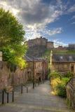 Castello di Edimburgo dal posto di Heriot, Edimburgo, Scozia, Regno Unito Fotografia Stock Libera da Diritti