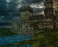 Castello di fantasia con le nuvole tempestose illustrazione di stock