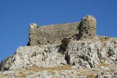 Castello di Faraklou nell'isola di Rodi Fotografia Stock