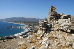 Castello di Faraklou nell'isola di Rodi Immagini Stock Libere da Diritti