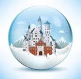 Castello di favola nella sfera di vetro Immagine Stock