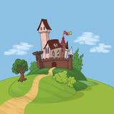 Castello di favola sulla collina Fotografia Stock