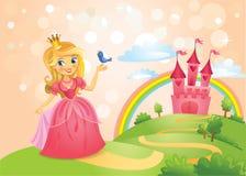 Castello di fiaba e bella principessa Immagine Stock