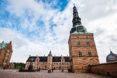 Castello di Frederiksborg e fontana di Nettuno Immagine Stock