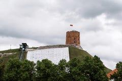 Castello di Gediminas a Vilnius Fotografie Stock