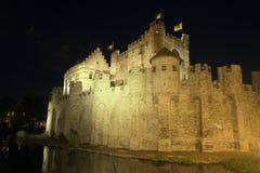 Castello di Gravensteen a Gand alla notte Fotografia Stock
