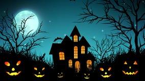 Castello di Halloween nel legno in ciano illustrazione di stock