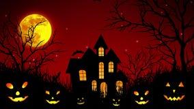 Castello di Halloween nel legno nel rosso illustrazione di stock