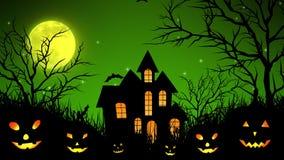 Castello di Halloween nel legno nel verde illustrazione di stock