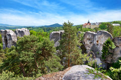 Castello di Hruba Skala, regione della Boemia di paradiso, repubblica Ceca Fotografie Stock