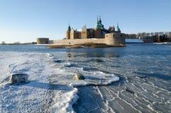 Castello di Kalmar alla stagione invernale Immagini Stock Libere da Diritti