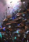 Castello di legno antico di fantasia illustrazione di stock