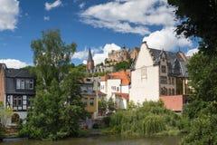 Castello di Marburgo sopra il fiume Lahn Fotografia Stock