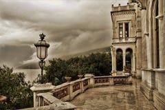 Castello di Miramare, opinión sobre el mar adriático foto de archivo