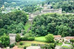 Castello di Montebello. BELLINZONA, SWITZERLAND - JULY 4, 2014: Castello di Montebello seen from Castelgrande. Montebello is the name of the hill on which the Stock Photo