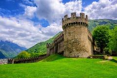 Castello di Montebello, Bellinzona, Switzerland. Medieval stone castel Castello di Montebello with defensive walls and towers in swiss Alps mountains, Bellinzona Royalty Free Stock Image