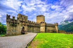 Castello di Montebello, Bellinzona, Switzerland. Medieval stone castel Castello di Montebello in swiss Alps mountains, Bellinzona, Switzerland Royalty Free Stock Photos