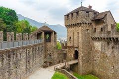 Castello di Montebello a famous tourist attraction in Bellinzona. Ticino canton, Switzerland Stock Image
