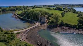 Castello di Nendrum o di Mahee basso della contea, Irlanda del Nord immagini stock libere da diritti