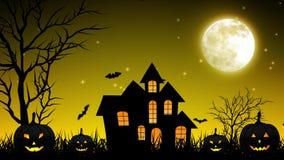 Castello di notte di Halloween nel fondo giallo illustrazione di stock