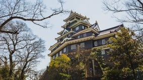 Castello di Okayama o il castello del corvo in primavera Immagine Stock Libera da Diritti
