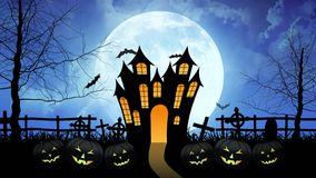 Castello di orrore con la luna nel fondo blu illustrazione di stock